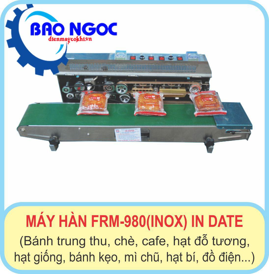 Máy hàn miệng túi liên tục có in date FRM 980