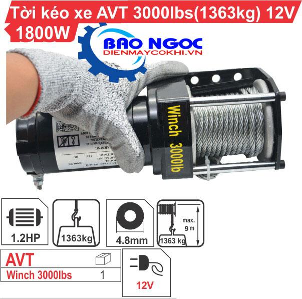 Tời  kéo Xe ATV 3000LBS (12V)